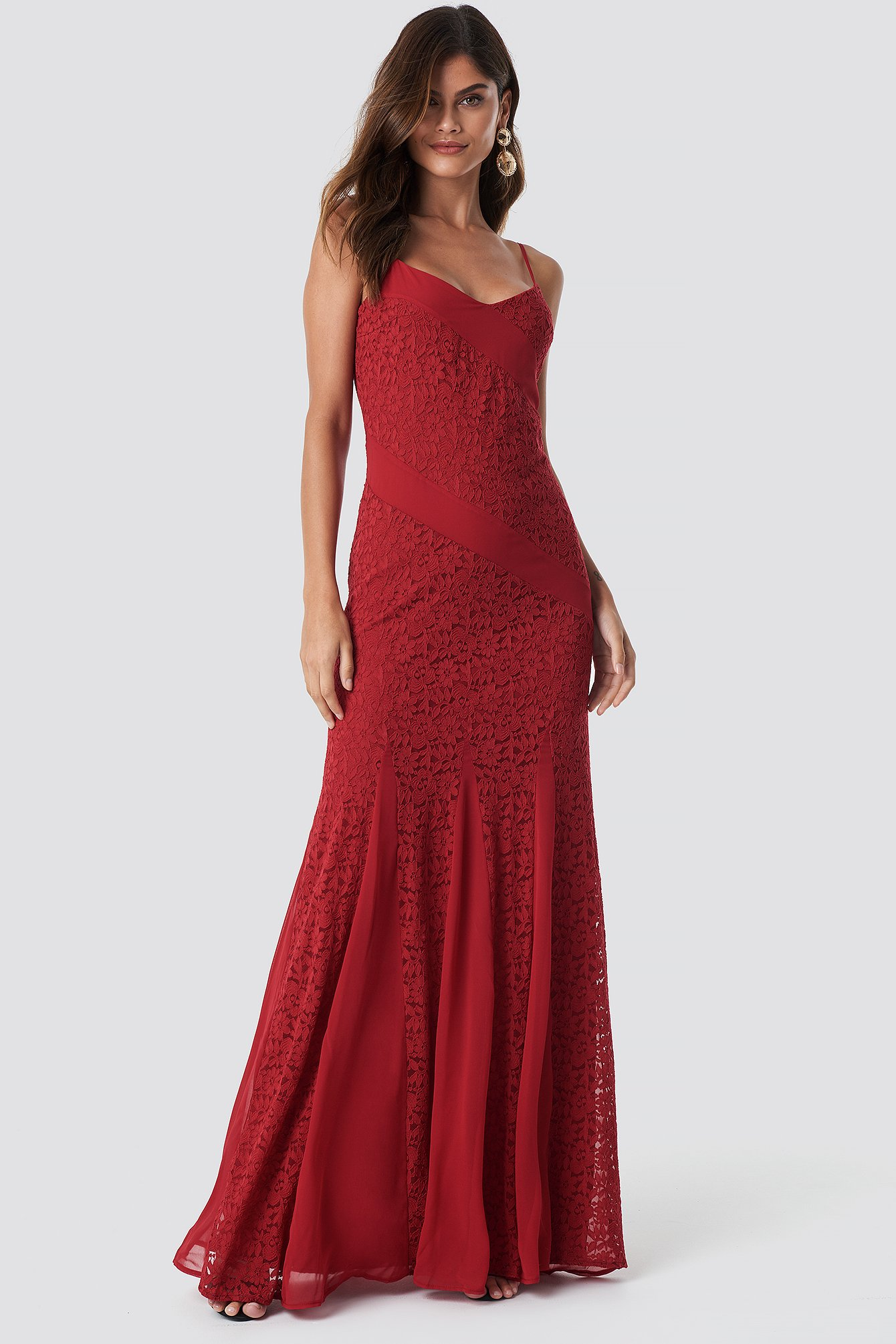 TRENDYOL LACE DETAILED MAXI DRESS - RED