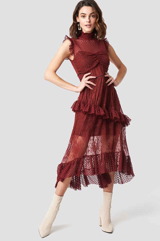Lace Detailed Maxi Dress Burgundy