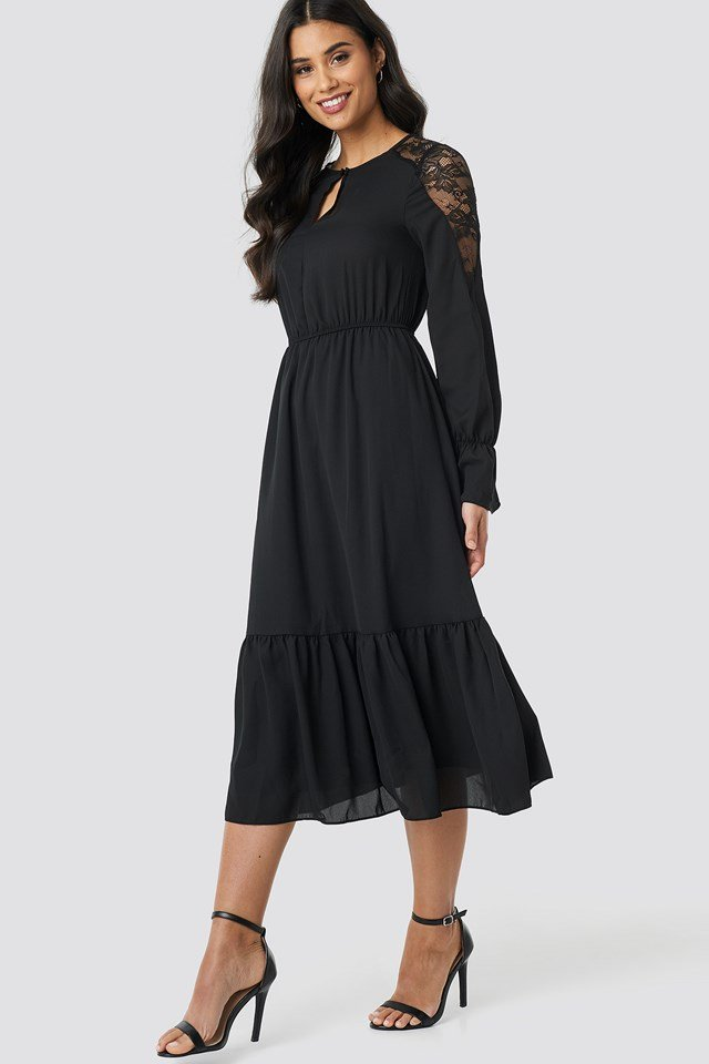 Lace Detailed Midi Dress NA-KD.COM