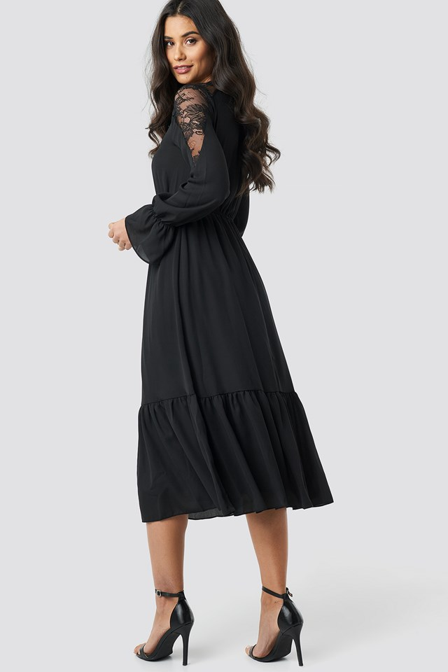 Lace Detailed Midi Dress Black