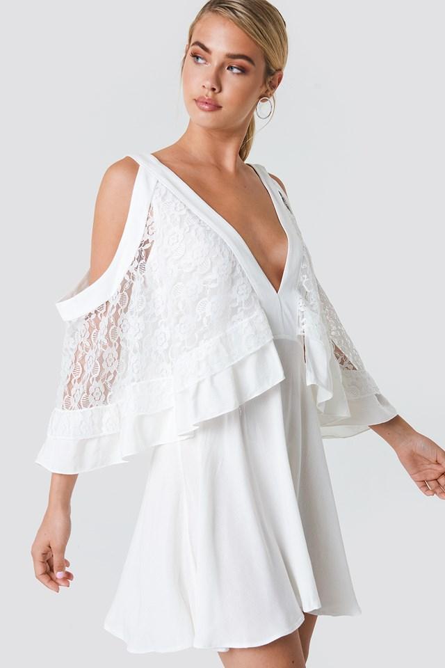 Lace Detailed Mini Dress Ecru