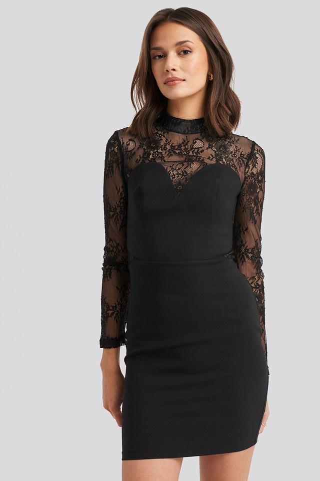 Lace Detailed Mini Dress Black