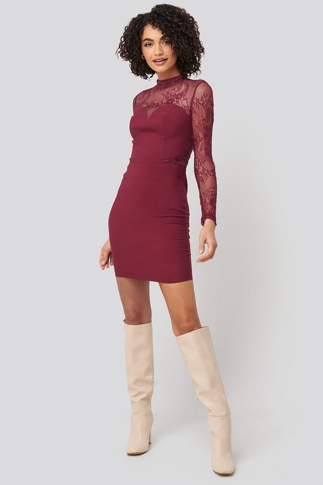 Lace Detailed Mini Dress Burgundy