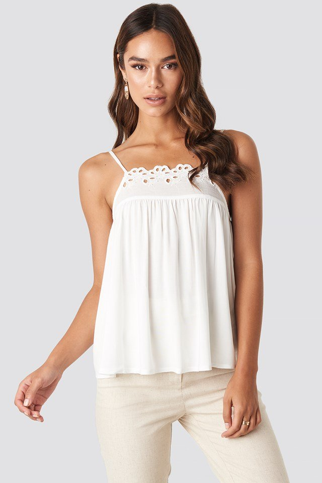 Lace Detailed Singlet White