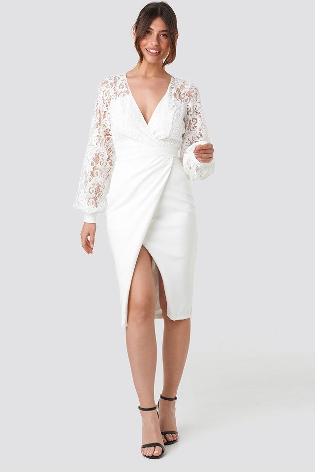 Lace Detailed Wrap Midi Dress NA-KD.COM