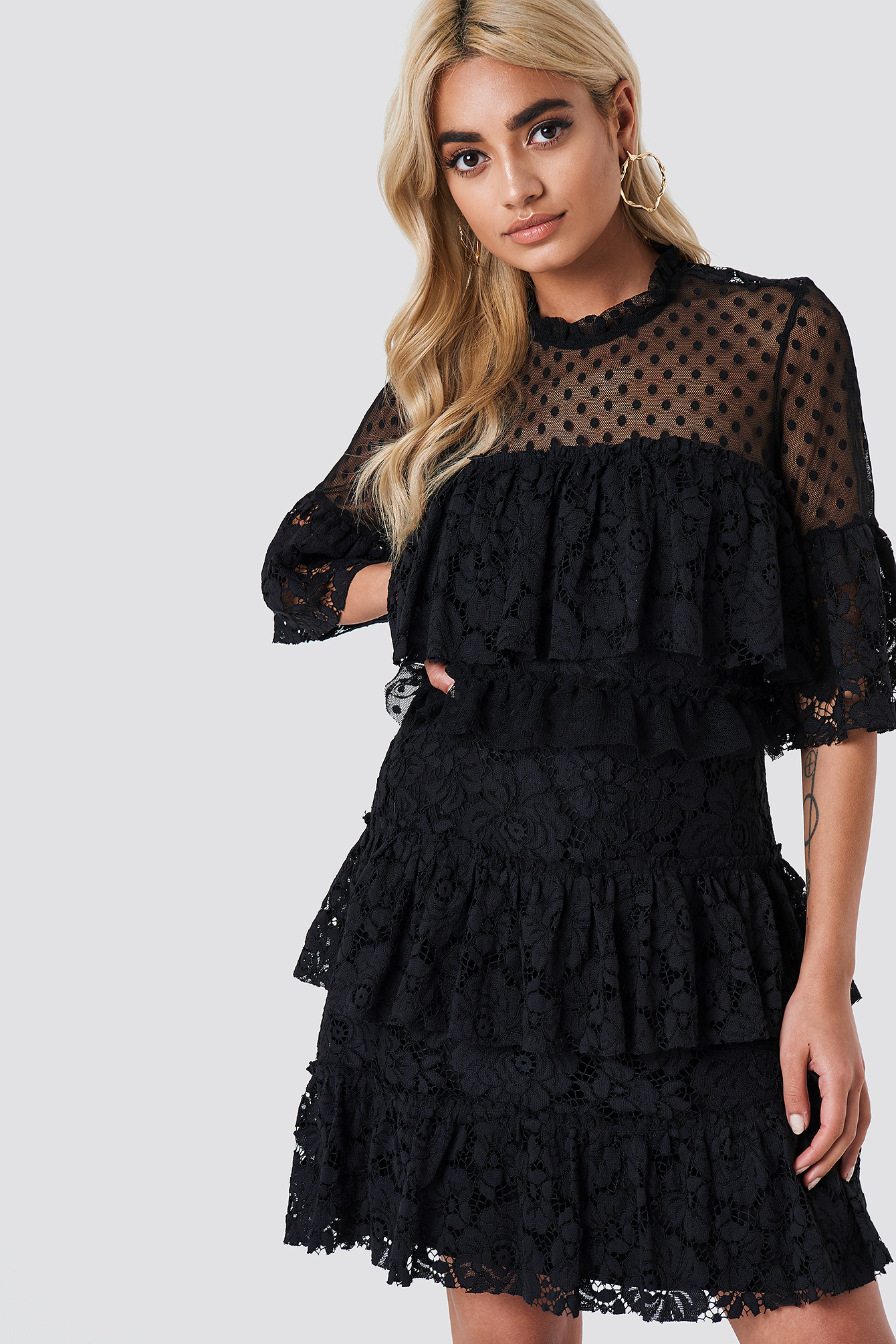 Lace Dot Mini Dress NA-KD.COM
