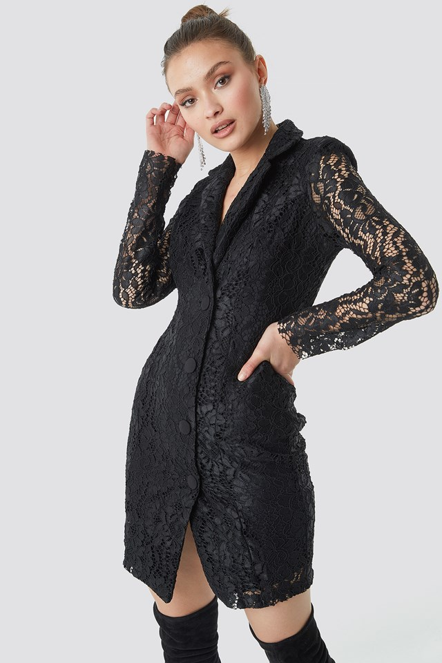 Lace Jacket Dress Black