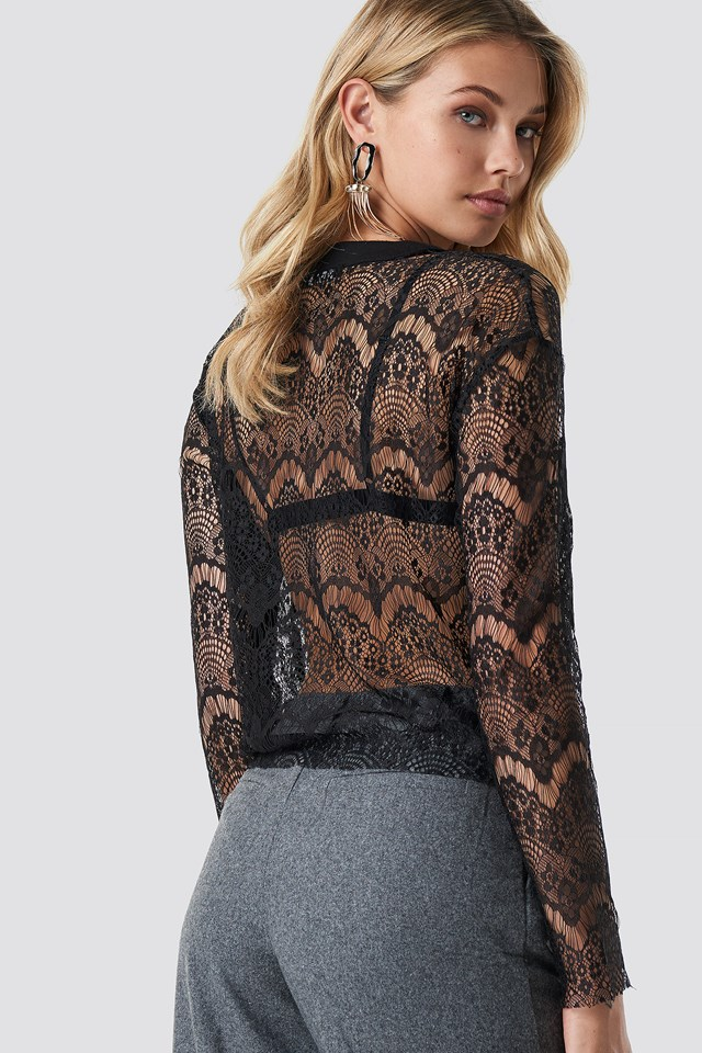 Lace Knitted Blouse Black
