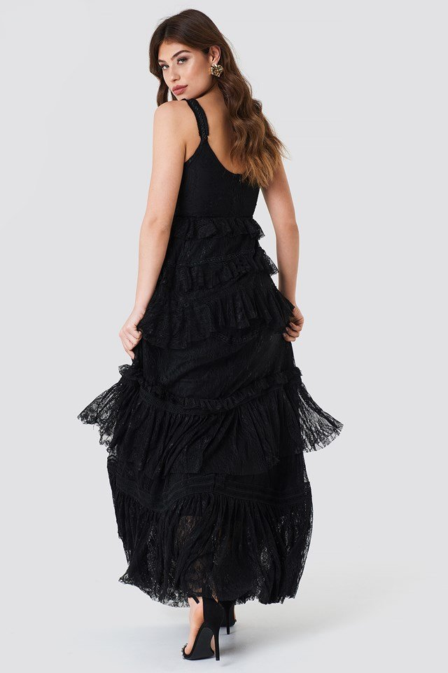 Lace Layer Maxi Dress Black