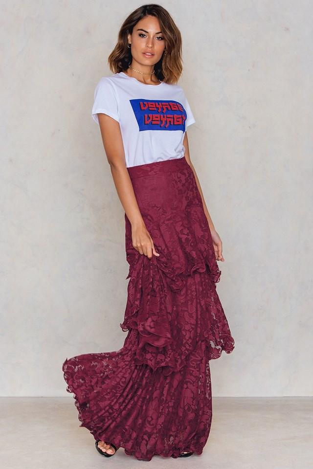 Lace Layered Maxi Skirt Burgundy