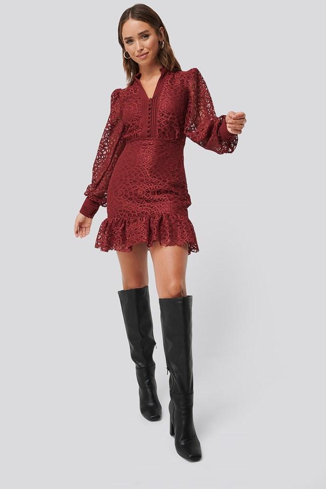 Lace Mini Dress Burgundy