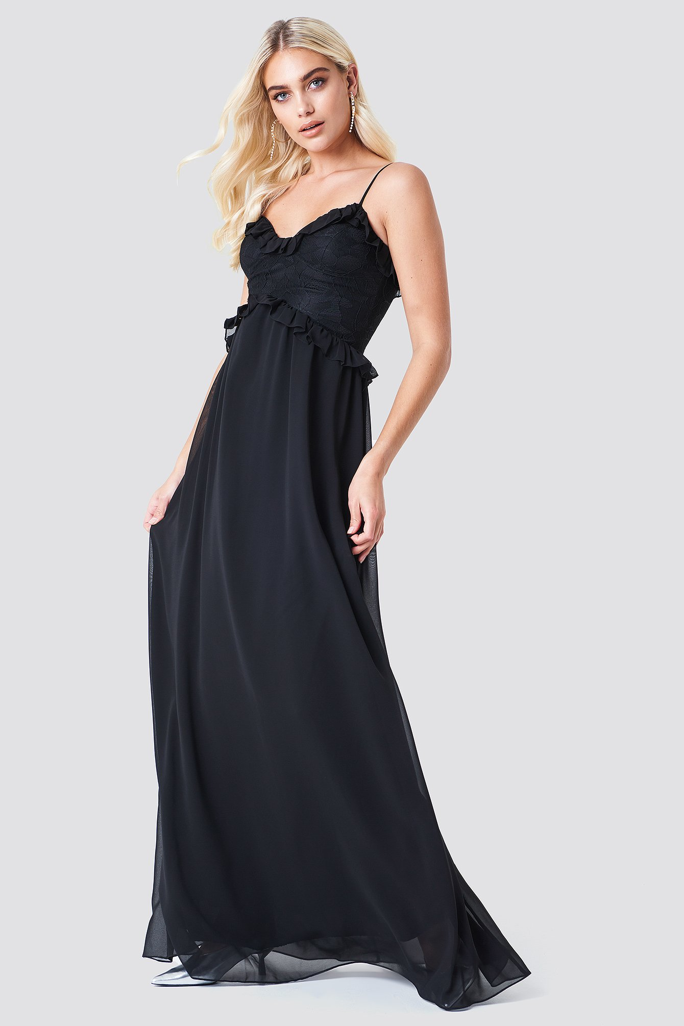 Lace Ruffle Maxi Dress NA-KD.COM