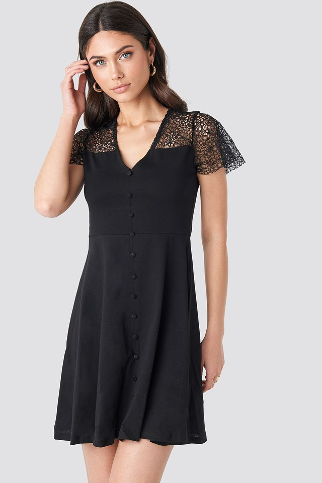 Lace Shoulder Mini Dress NA-KD.COM