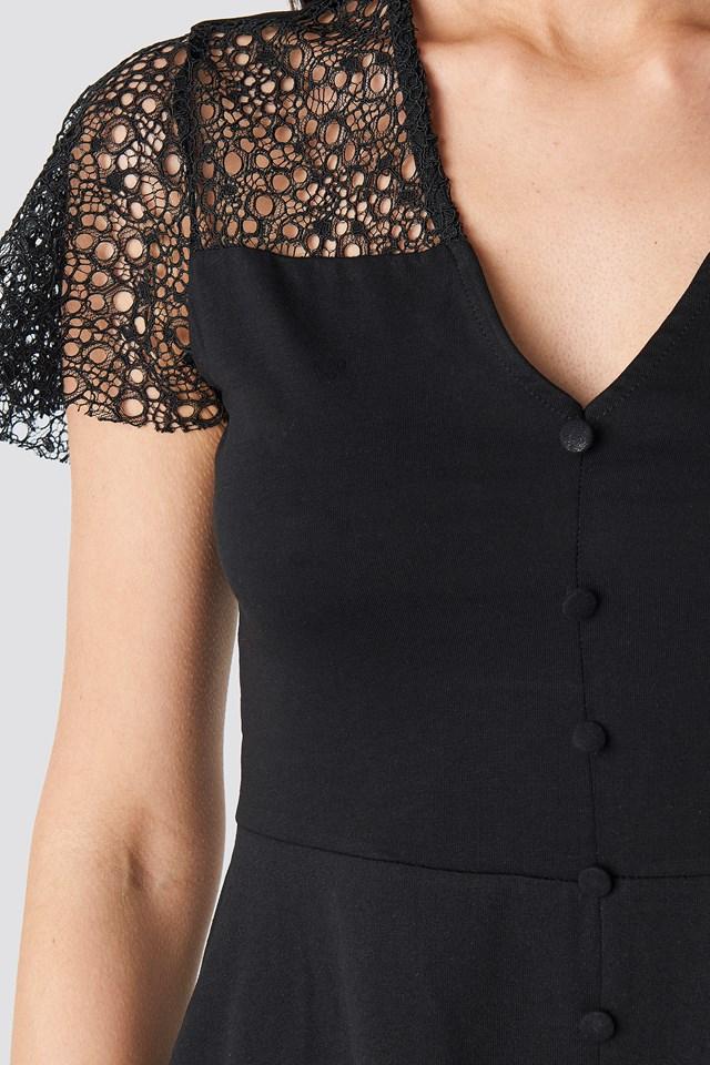 Lace Shoulder Mini Dress Black