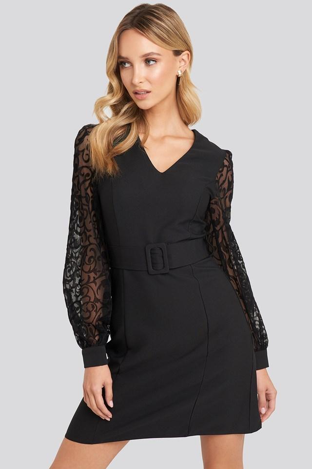 Lace Sleeve Detail Dress Black