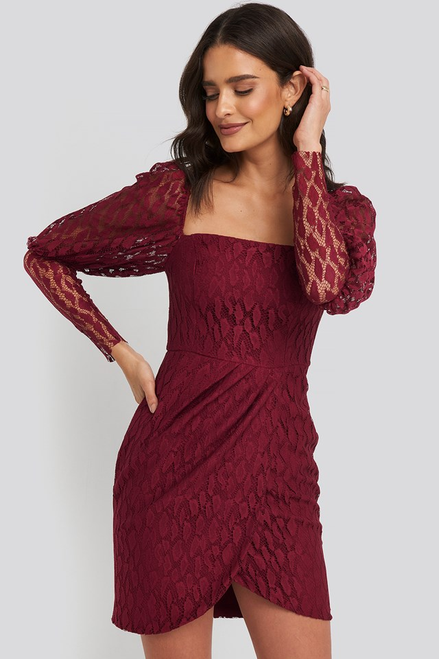 Lace Sleeve Detailed Mini Dress Trendyol