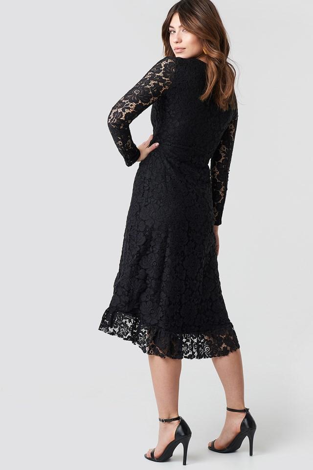 Lace Sleeve Flywheel Dress Black