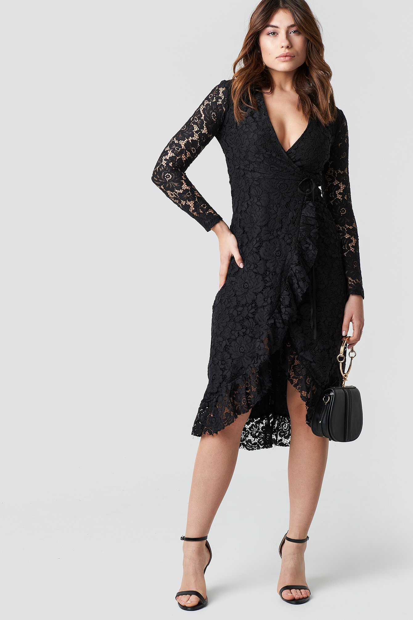 Lace Sleeve Flywheel Dress NA-KD.COM