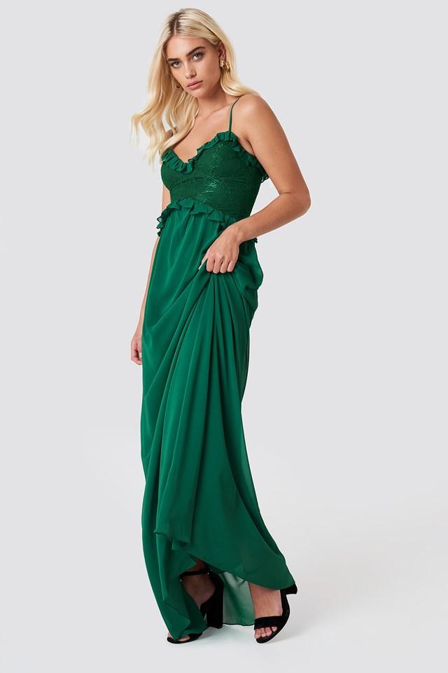 Lace Ruffle Maxi Dress NA-KD.COM