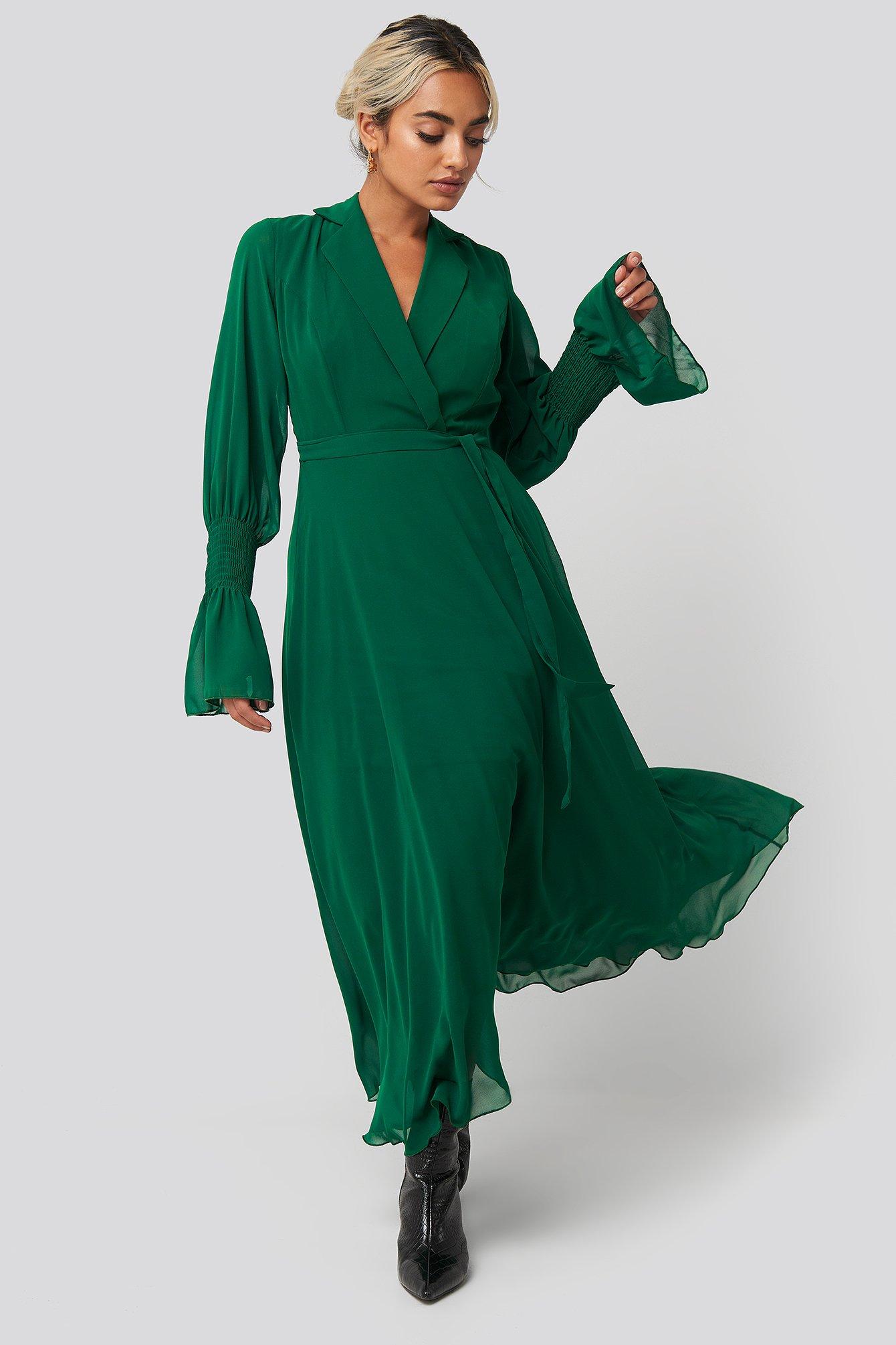 trendyol -  Lapel Detailed Long Dress - Green