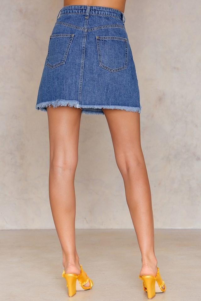 Lapped Denim Skirt Blue