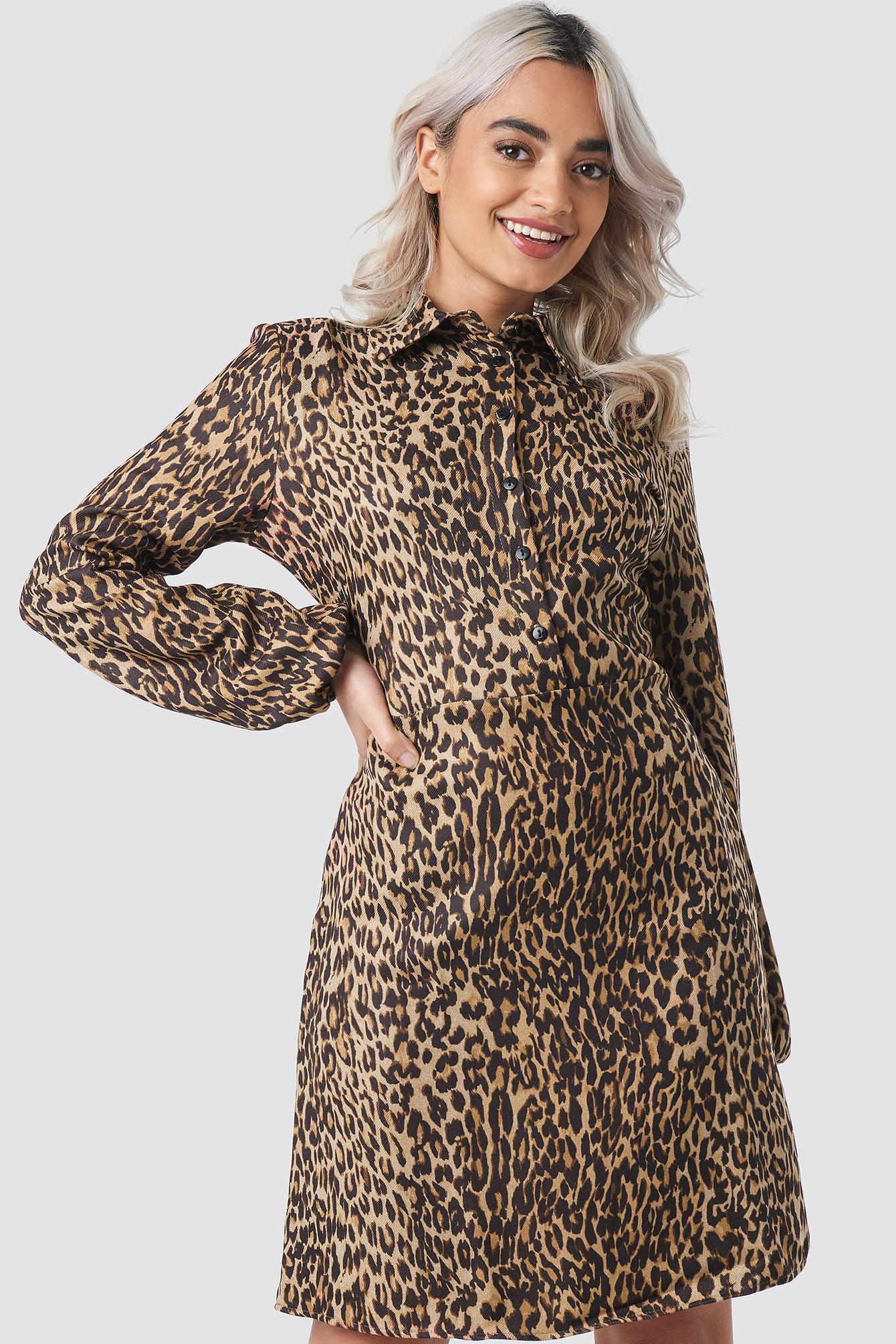 Leo Printed Midi Dress NA-KD.COM
