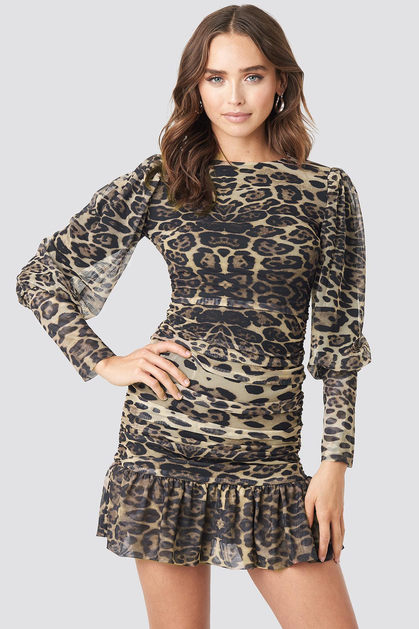 Leopard Drape Detailed Dress NA-KD.COM