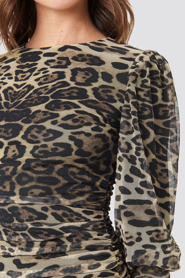 Leopard Drape Detailed Dress Multicolor