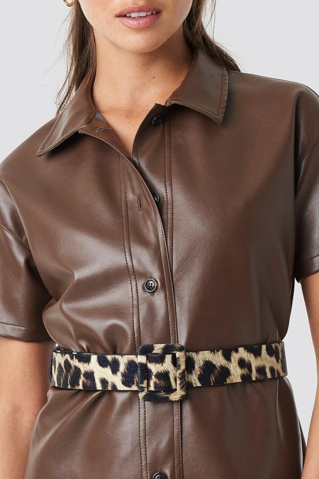 Leopard Pattern Basen Belt Brown