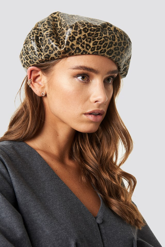Leopard Pattern Beret Brown