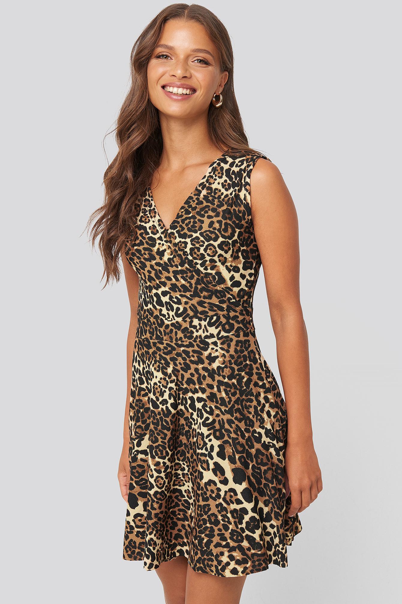 trendyol -  Leopard Pattern Mini Dress - Multicolor