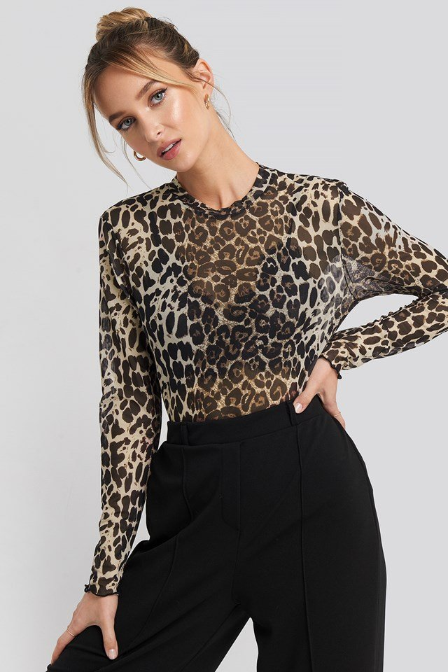 Leopard Pattern Tulle Top Brown