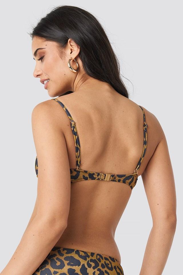 Leopard Patterned Bandeau Bikini Top Multicolor