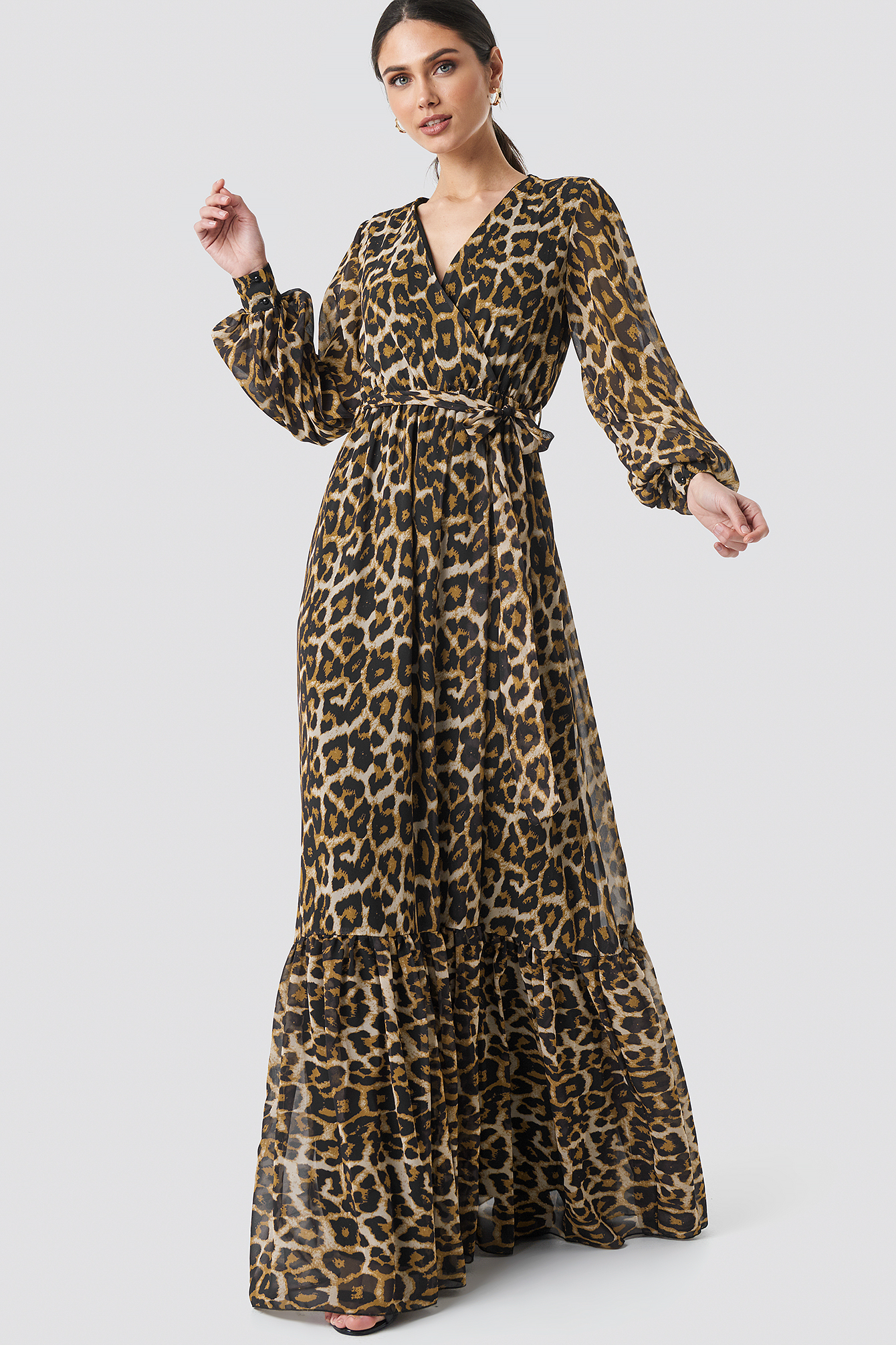 393115f8c8a8 Leopard Patterned Evening Dress Brown