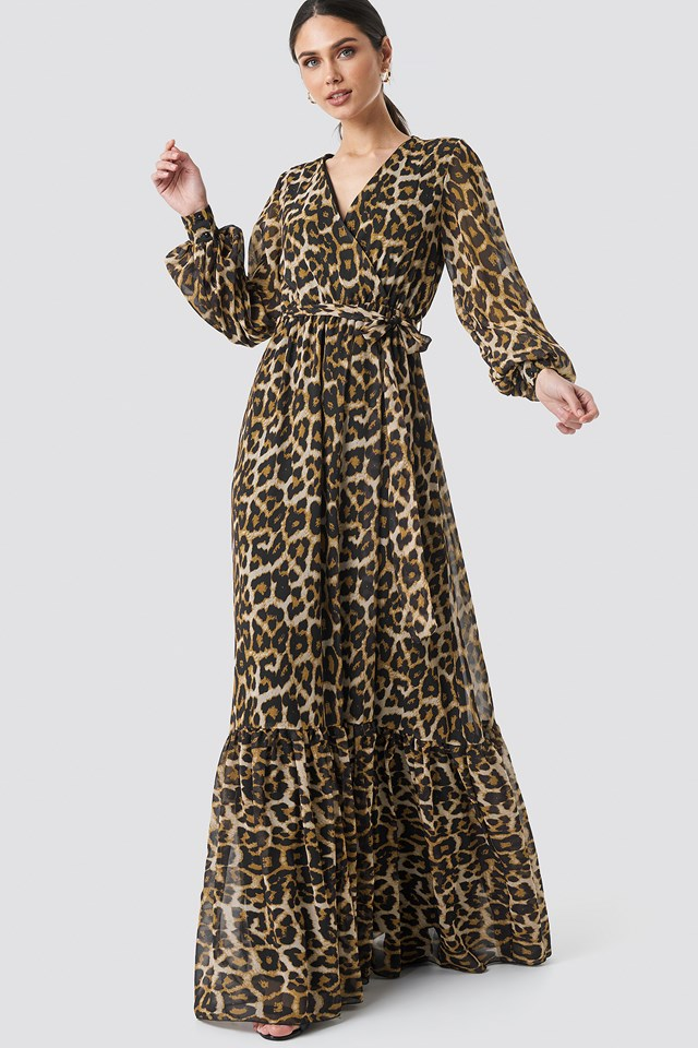 Leopard Patterned Evening Dress Brown