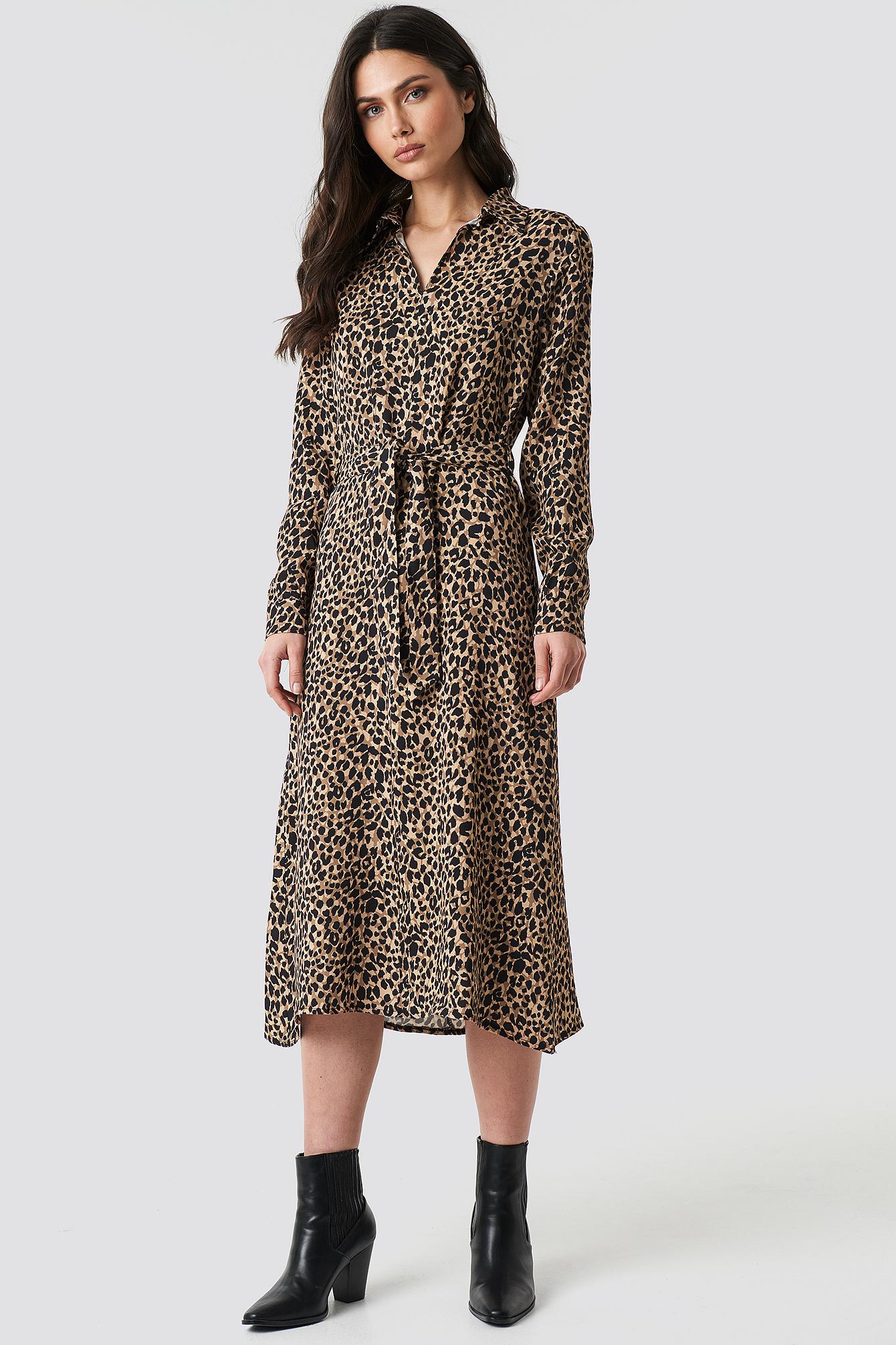 5c1b6e56c303 Leopard Patterned Midi Dress Multicolor