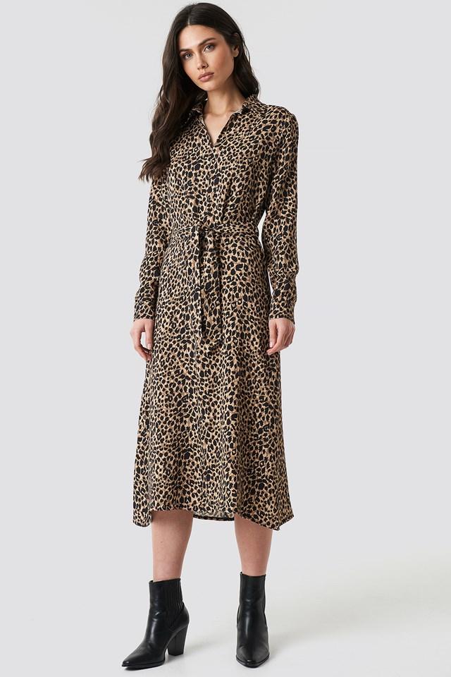 Leopard Patterned Midi Dress Multicolor