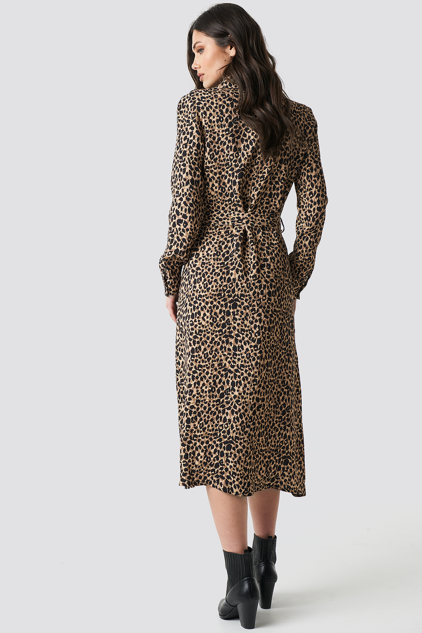 Leopard Patterned Midi Dress NA-KD.COM