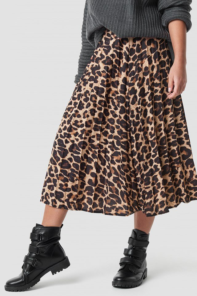 Leopard Patterned Pleat Midi Skirt Brown