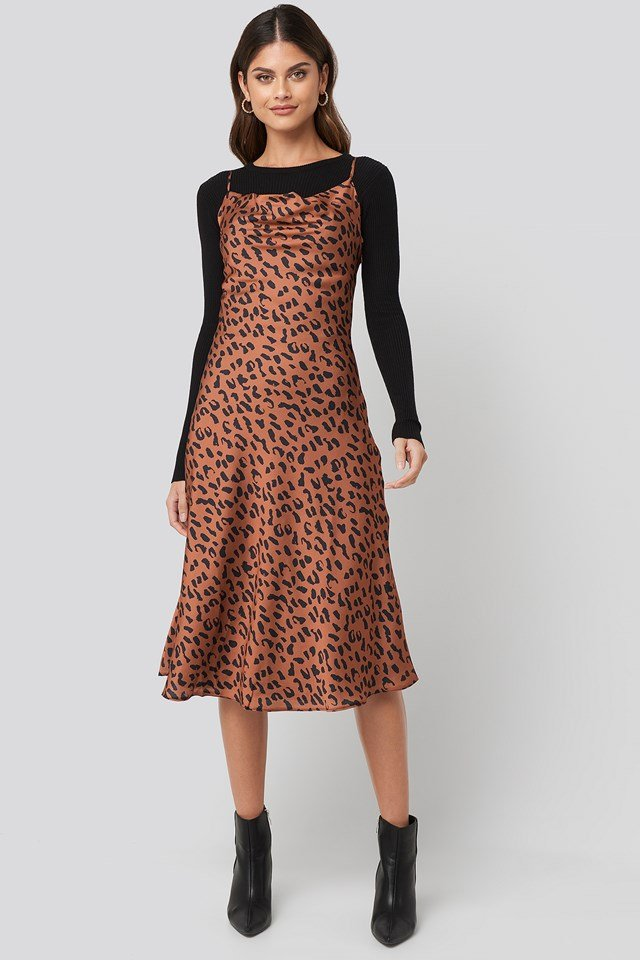 Leopard Print Midi Dress Multicolor
