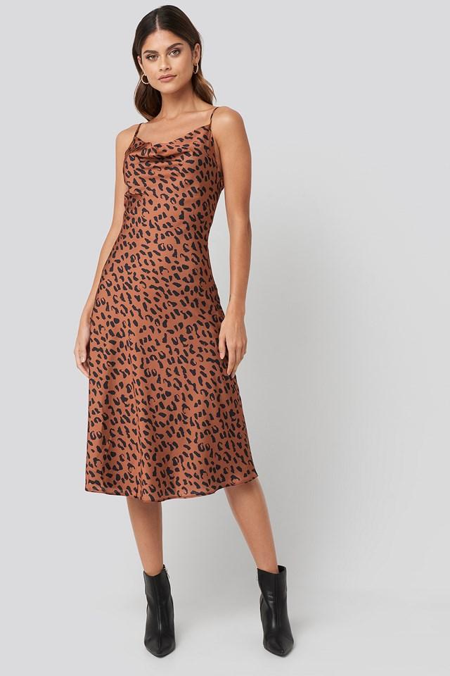 Leopard Print Midi Dress Multicolor