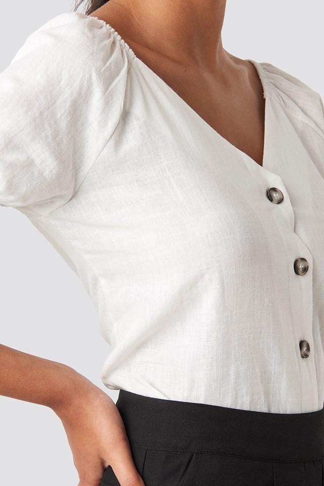 Linen Button Top White