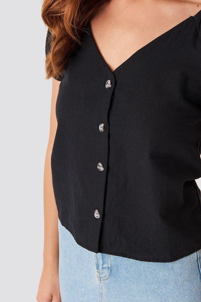 Linen Button Top Black