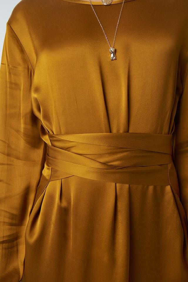 Long Binding Detailed Dress Mustard