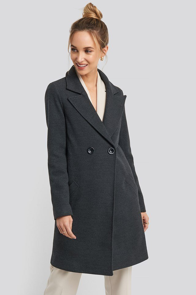 Long Double Breasted Coat Anthracite