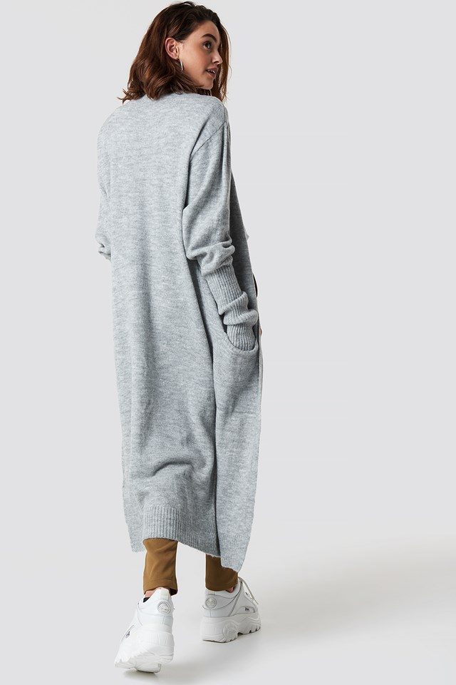 Long Knitted Cardigan Gray