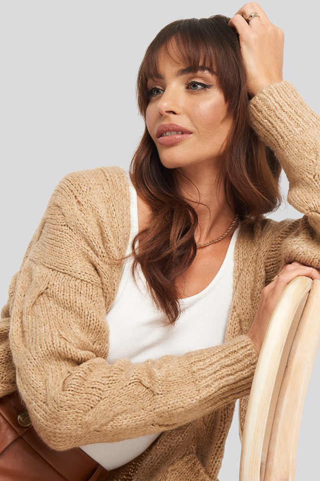 Long Knitted Cardigan Beige