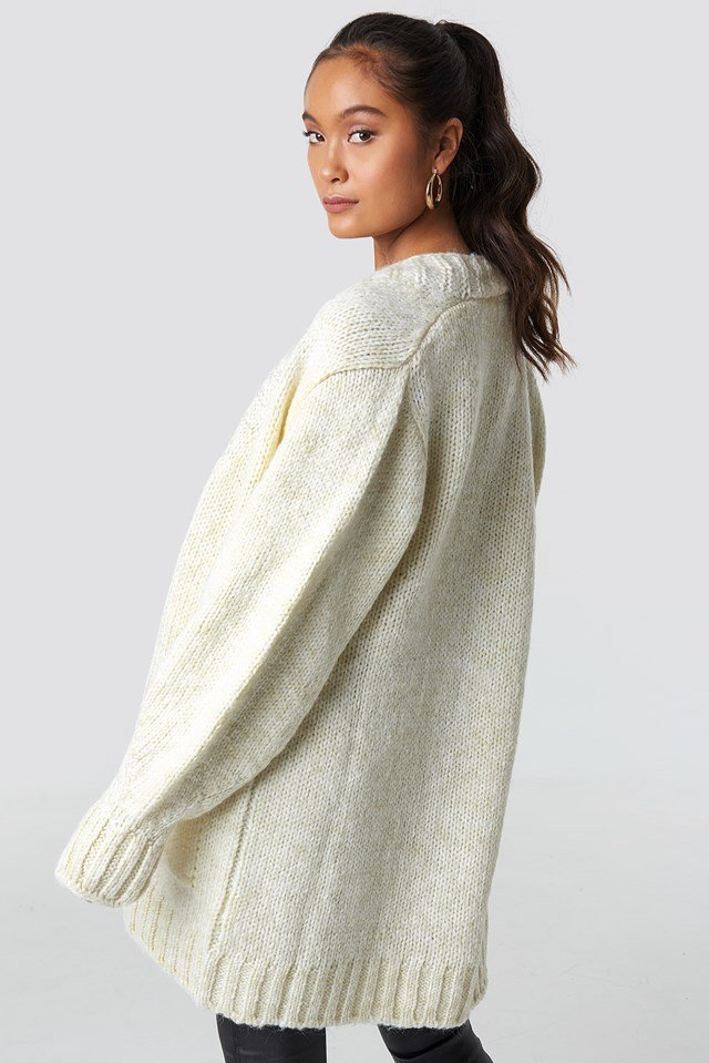 Long Knitted Milla Cardigan Ecru