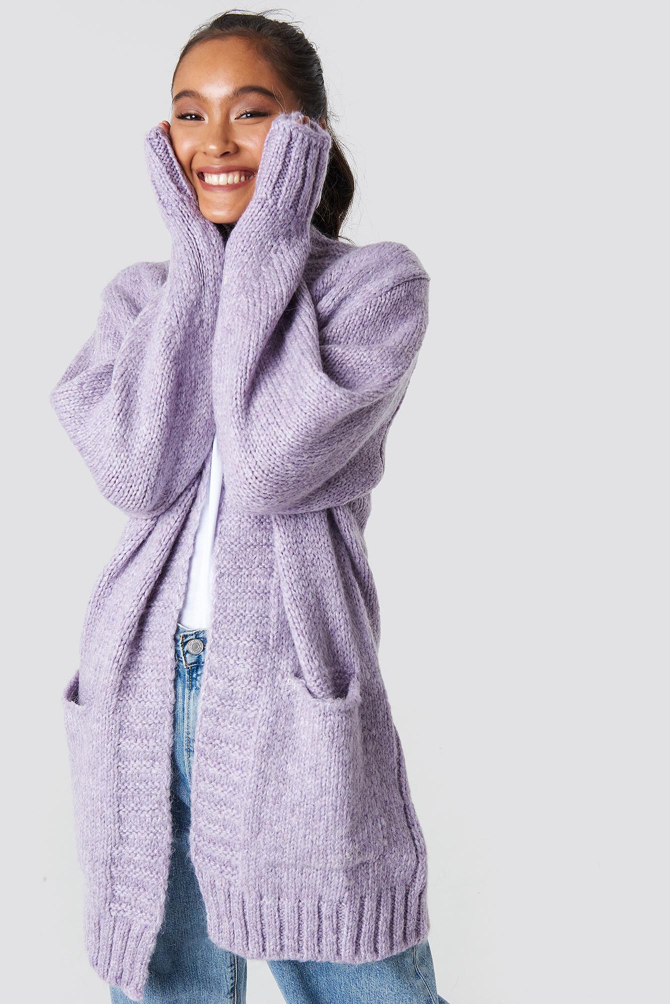 trendyol -  Long Knitted Milla Cardigan - Purple