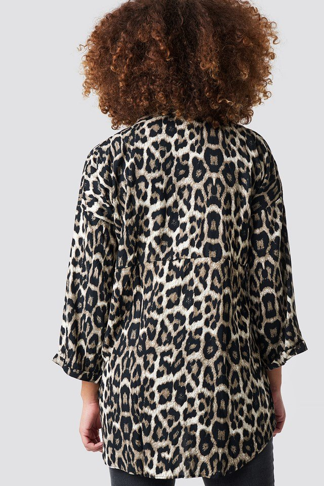 Long Leo Patterned Shirt Brown